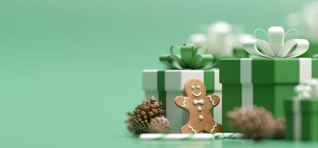 View of a Christmas background with ginger biscuit - 3d rendering