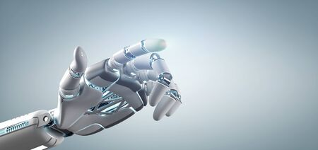 View of a Cyborg robot hand on an uniform background 3d rendering Imagens