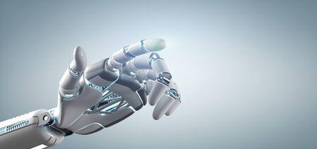 Vista de una mano de robot Cyborg sobre una representación 3d de fondo uniforme Foto de archivo