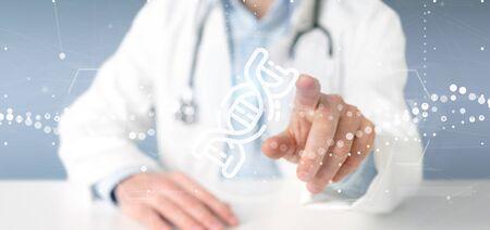 View of a Doctor holding a DNA icon Zdjęcie Seryjne