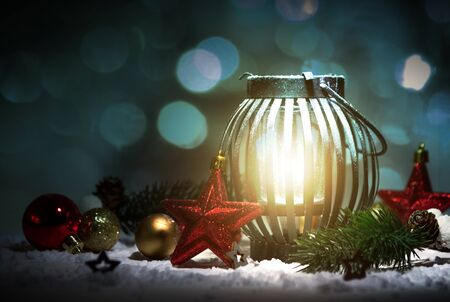 View of a Christmas background with ornament and light atmosphere