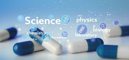 View of a Science icons and title on a lab background Zdjęcie Seryjne