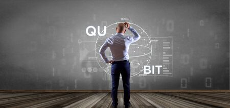 View of Businessman in front of a wall with Quantum computing concept with qubit icon 3d rendering