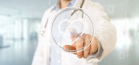 View of a Doctor holding a heart icon surrounded by data