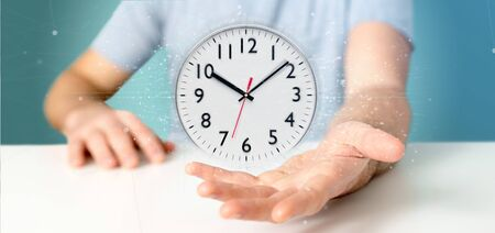 View of a Man holding a clock timer 3d rendering Stock fotó