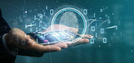 Vista de un empresario sosteniendo una identificación de huellas digitales y código binario 3D rendering