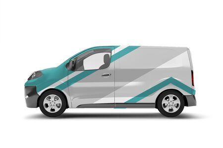 Mock up view of a van on a white background - 3d rendering