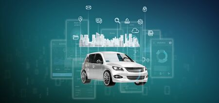 View of Dashboard smartcar interface with multimedia icon and city map on a background 3d rendering