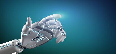 Ansicht einer Cyborg-Roboterhand auf einem einheitlichen Hintergrund 3D-Rendering