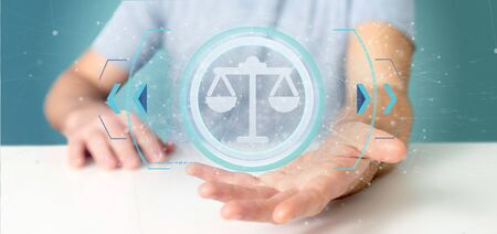View of a Man holding a Technology justice icon on a circle 3d rendering