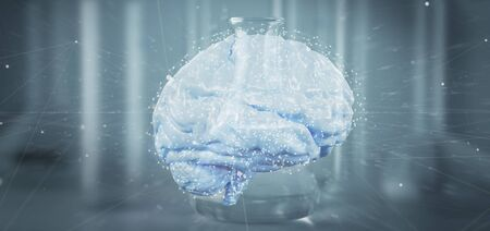 View of a 3d rendering artificial brain isolated on a medical background