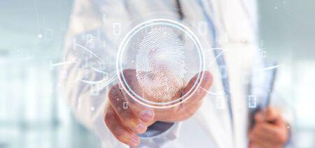 View of a Doctor holding a Digital fingerprint identification and binary code 3d rendering Reklamní fotografie