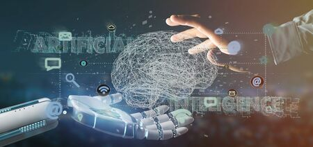View of a Cyborg hand holding a artificial intelligence concpt with a brain and app 3d rendering Reklamní fotografie