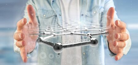 View of a Businessman holding a graphene structure - 3d rendering