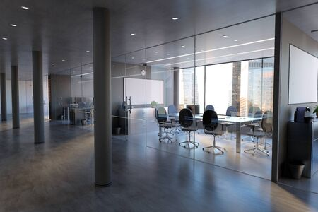 View of a Glass Office Room Wall Mockup - 3d rendering