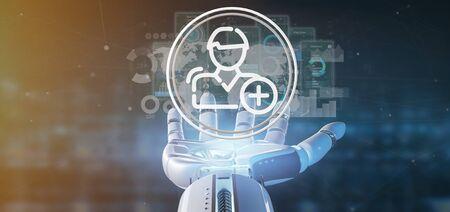 Weergave van een Cyborg-hand met een nieuw contactpictogram