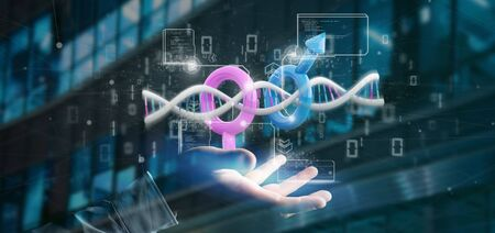 View of a Businessman holding a DNA with data and male and female symbol - 3d rendering