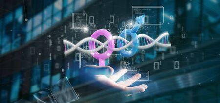 Vista de un empresario sosteniendo un ADN con datos y símbolo masculino y femenino - 3D rendering