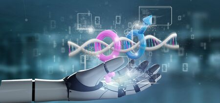 View of a cyborg holding a DNA with data and male and female symbol - 3d rendering Stockfoto