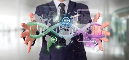 View of a Businessman holding a DNA over a world map with geographic localization - genealogy concept - 3d rendering