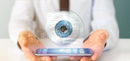 View of a Businessman holding a visual recognition eye concept with data - 3d rendering