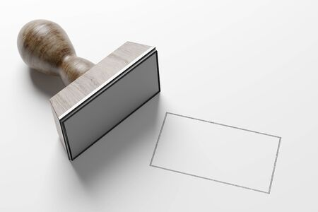 View of a Rectangular Stamp Mockup- 3d rendering