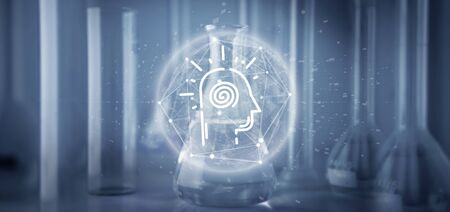 View of a Conscious head icon on a lab background