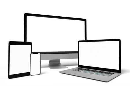 Vista di un mock up del dispositivo - rendering 3d Archivio Fotografico