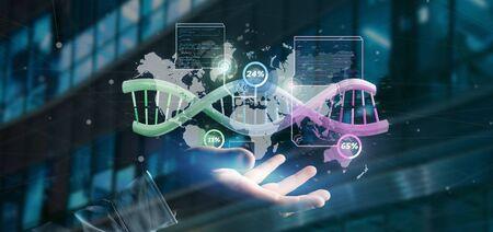 Vista de un empresario sosteniendo un ADN sobre un mapa del mundo con localización geográfica - concepto de genealogía - representación 3d