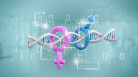 View of a DNA with data and male and female symbol - 3d rendering
