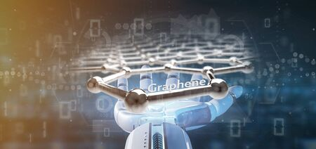 View of a Cyborg hand holding a graphene structure - 3d rendering