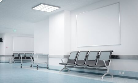 Hospital corridor poster mockup