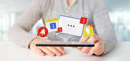 View of a Businessman holding Social network notifications - 3d rendering