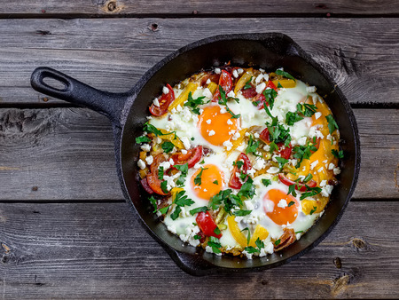 Eggs poached with vegetablesnamed