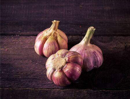 food still: Garlic on dark wooden background. Selective focus.