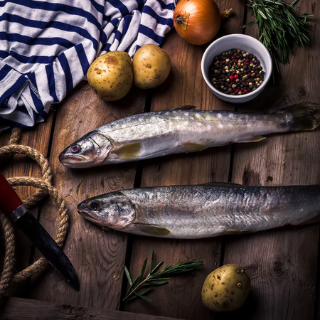 burbot: pescado de río en bruto con patatas, cebolla, especias y hierbas en una mesa de madera. estilo rústico, enfoque selectivo. Foto de archivo