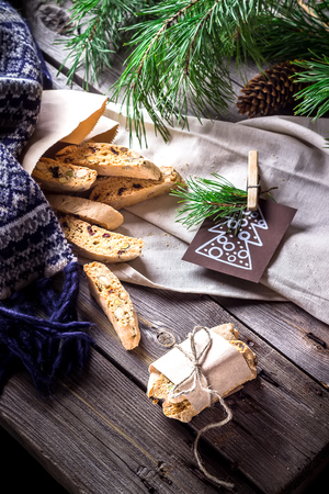 selective focus: Italian bescotti cookies on wooden background. Selective focus. Stock Photo
