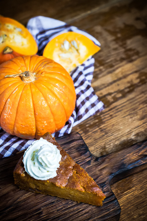 Pumpkin pie with whipped cream on rustic background. Copy space.Selective focus.