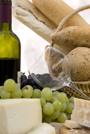 chianti: Assorted Breads and Cheese with a glass of Chianti Wine...soon