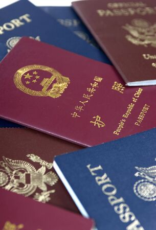 border patrol: Different types of passports from China and the USA Stock Photo