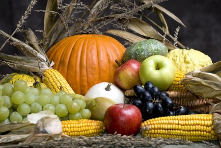 An assortment of autumn fruits provide a colorful display photo