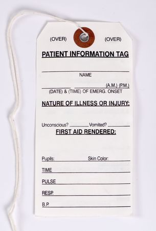 A Patient information card for first aid rendered