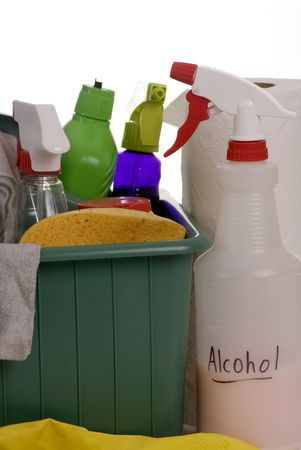 woman squirt: A container with all the daily cleaning supplies for housework