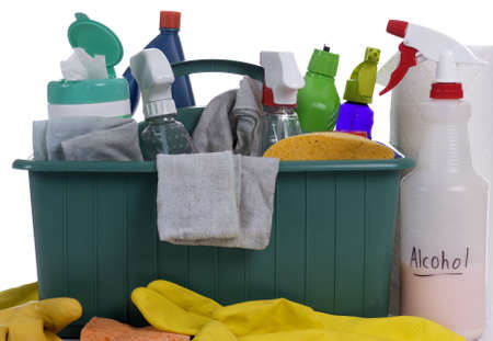 cleaning supplies: A container with all the daily cleaning supplies.. the chores of labor Stock Photo