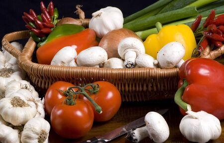 vegtables: An assortment of vegtables fresh from the garden, ready for cooking Stock Photo