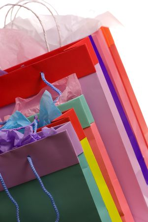 Colorful shopping bags full of presents for the holidays
