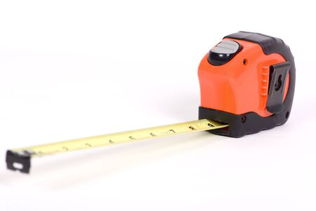 An isolated view of an extended tape measure