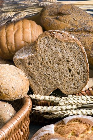 An assortment of whole grain breads Stock Photo - 683296