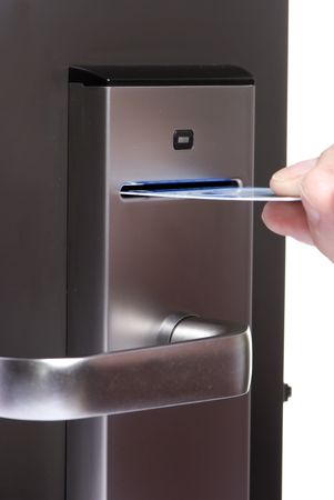 A modern door lock with a card swipe Banco de Imagens - 686879