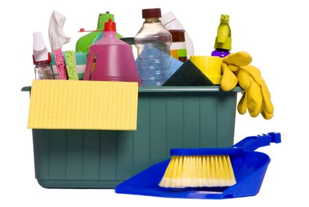 A container with all the items needed for the daily chore of cleaning house photo